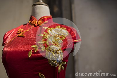Suzhou tsu silk qipao. Stock Photo