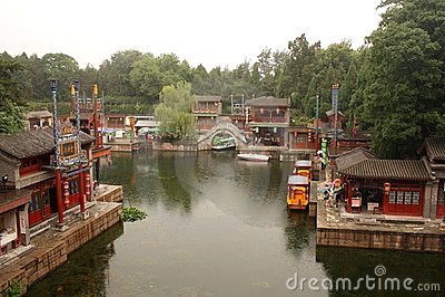 Suzhou Street in Summer Palace, Beijing Editorial Stock Image