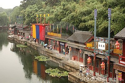 Suzhou Street in Summer Palace, Beijing Editorial Stock Photo