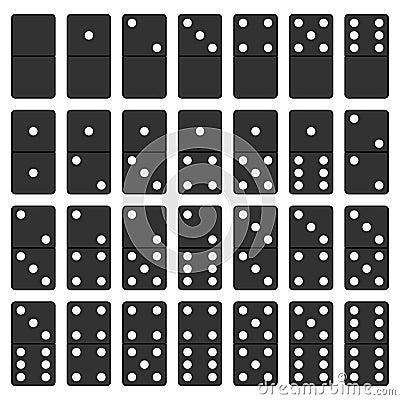 Svartvit uppsättning för dominobricka