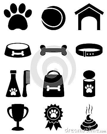Svartvita symboler för hund