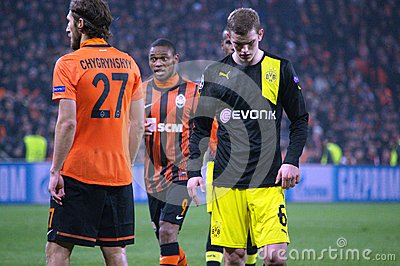 Sven Bender and Chygrynskiy during the Champions League match Editorial Stock Image