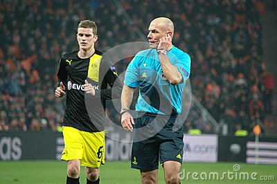 Sven Bender and Howard Webb in the Champions League Editorial Photography