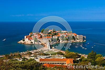 Sveti Stefan island. Adriatic sea.  Montenegro.