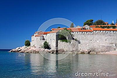 Sveti Stefan and sea