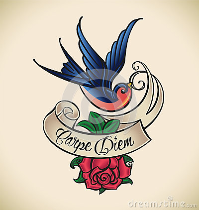 Free Swallow And Rose, Old-school Tattoo Royalty Free Stock Images - 33386659