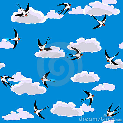 Swallow flying to sky seamless
