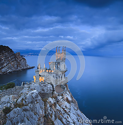 Free Swallow S Nest Castle At Sunset Royalty Free Stock Image - 35510426