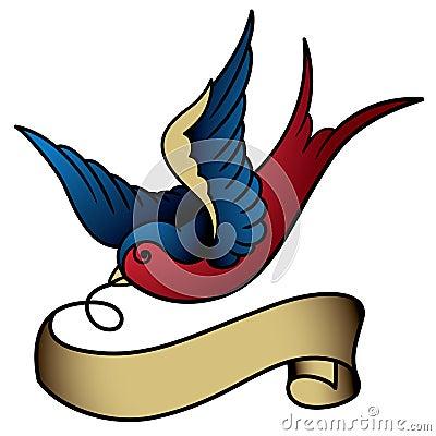 Free Swallow Tattoo Royalty Free Stock Photo - 28748005