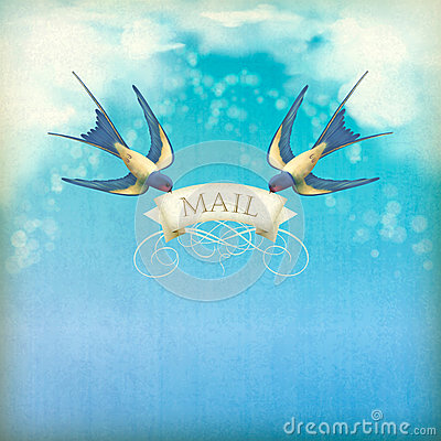Swallows mail vintage postcard