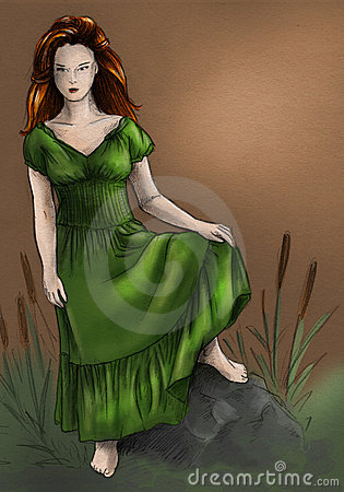 Swamp witch in green dress