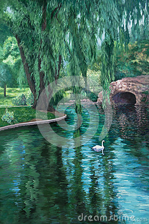 Free Swan In A Park Pond Royalty Free Stock Image - 35552056
