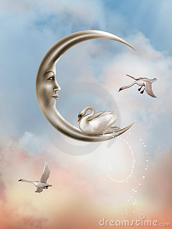 Free Swan In The Moon Royalty Free Stock Image - 7092156