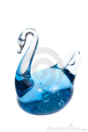 Swan made of blue glass