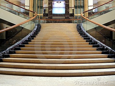 Swanky lobby with staircase