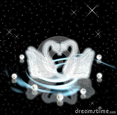 Swans & pearls. Devotion & love concept