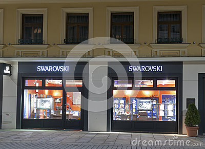 Swarovski store in Karlovy Vary at night Editorial Stock Image