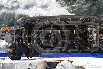 SWAT Agents Climb Up the Side of a Ship Editorial Image