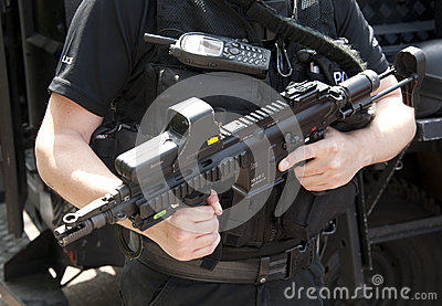 POLICE SWAT HK 416 C assault rifle Editorial Photography