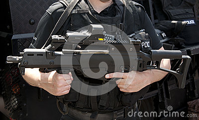 POLICE SWAT HK G36 assault rifle Editorial Photo