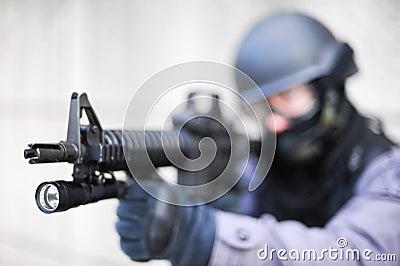 SWAT Officer with Gun