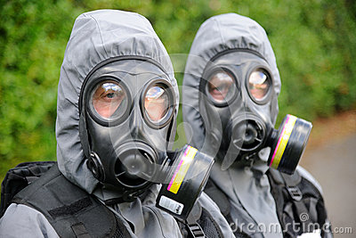 SWAT officers in gas masks Editorial Stock Image