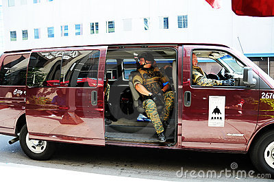SWAT and Police in Riot Gear Editorial Photography