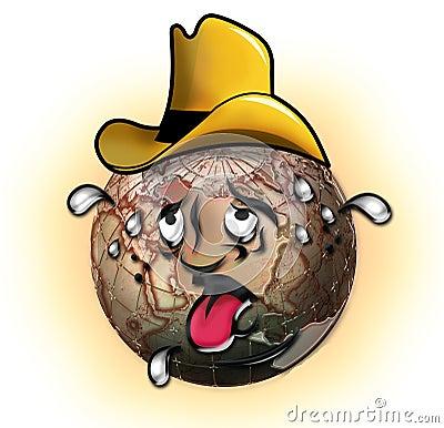 Sweating cowboy globe