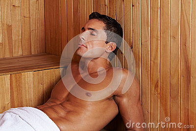 Sweating man in sauna