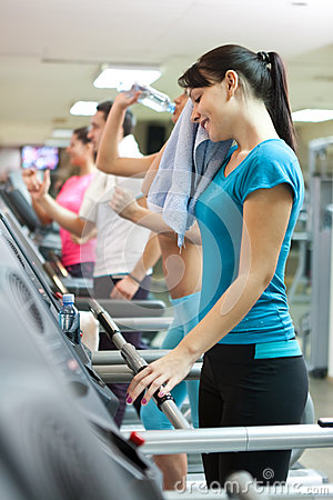 Sweating woman in gym