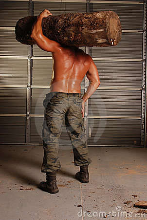 Sweaty woodsman