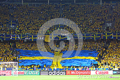 Sweden fans at NSC Olympic stadium Editorial Image