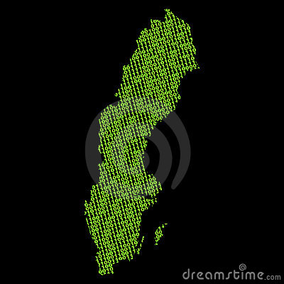 Sweden map with binary code