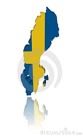 Sweden map flag with reflection