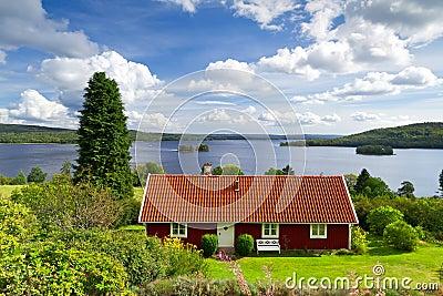 Swedish cottage house at the lake