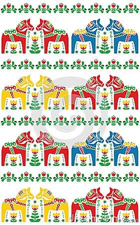 Swedish Dala or Daleclarian horse seamless folk art pattern