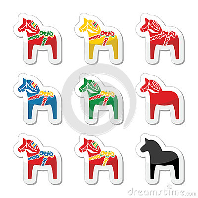Swedish dala horse  icons set