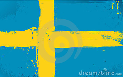 Swedish flag daubed with paint