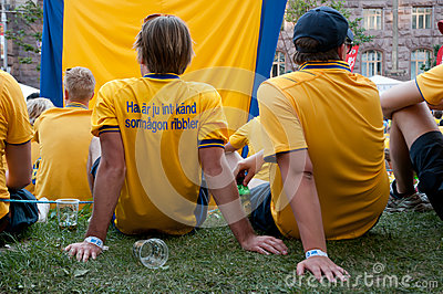 Swedish football fans on euro 2012 Editorial Image