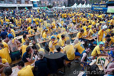 Swedish football fans on euro 2012 Editorial Photo