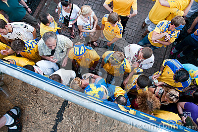 Swedish football fans on euro 2012 Editorial Stock Photo