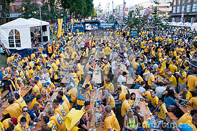 Swedish football fans on euro 2012 Editorial Photography