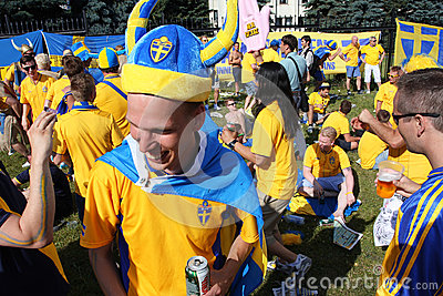 Swedish football fans have fun during EURO 2012 Editorial Photography