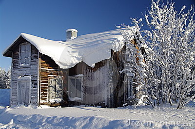 Swedish house at a sunny winter day