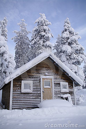 Swedish house in winter