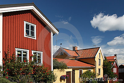 Swedish houses with blue sky