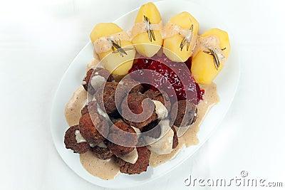 Swedish Kottbullar meatball, brunsas, potatoes jam