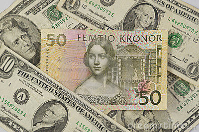 Swedish krona surrounded by United States dollars