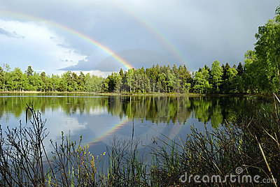 Swedish lake landscape after rain
