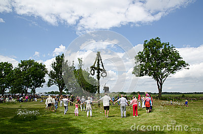 Swedish midsummer dancing Editorial Photo